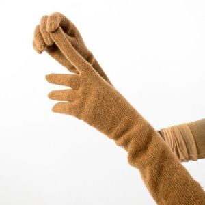 Luxury Wool Angora Knitted Matinee Gloves Brown